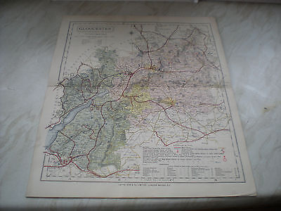 """A Circa 1884 Letts Son & Co. Ltd Map Of GLOUCESTER - Measures 14 1/4"""" x 17 1/2"""""""