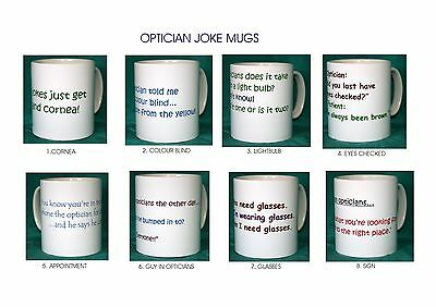 Optician Joke Mugs. 8 Designs.new.bnib