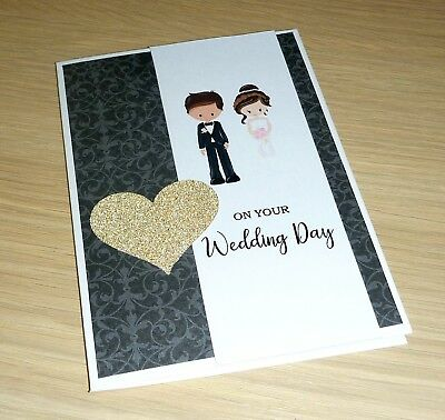 Wedding Day card - Bride and groom - black and gold - handmade greeting card