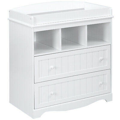Baby Changing Unit Table 2 Drawers Storage 93 x 88 x 50 cm Diaper Changer White