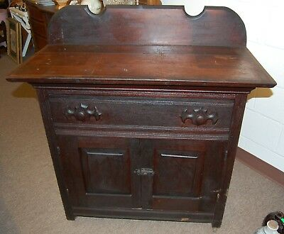 Solid Wood Victorian Cabinet Hand Carvings Storage Drawer Door Shelves Estate