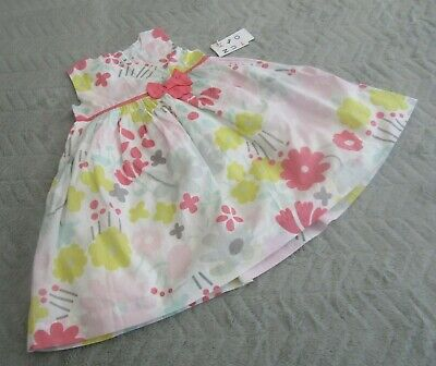 Baby Girls 100% Cotton White Floral Prom Sleeveless Dress (12-18 Months) - BNWT