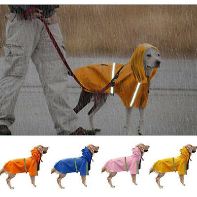 Reflective Dog Jacket Rain Coat Clothes Suit Harness Vest Lightweight Waterproof