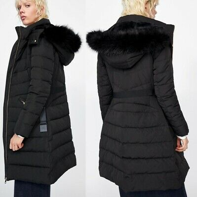 9e1b1f94 Zara BLACK Quilted Faux Fur Hood Duck Down Feather Puffer Coat Padded Zip  Anorak