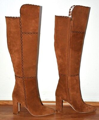 099abe0f685 MANOLO BLAHNIK RUBIOHI Brown Stitched Suede Knee Boot sz 40 ...