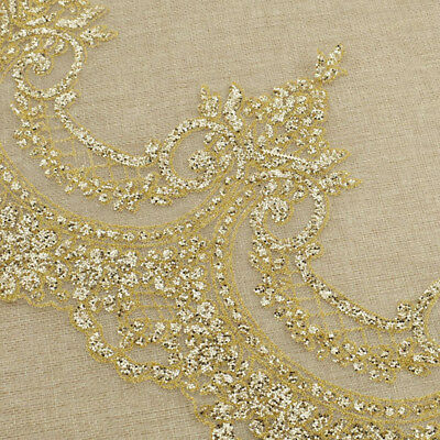Bridal Wedding Gold Sequins Embroidered Lace Trim Sewing Craft Ribbon 1 Yard