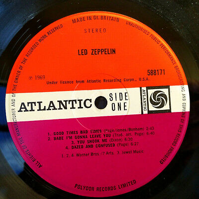 Led Zeppelin Debut Silver Stripe cover UK 1969 1st UK Press Nr Ex A1 B1