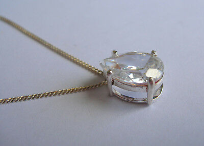 """Quality Hallmarked Sterling Silver Cubic Zirconia Cz Pear Pendant On 18"""" Chain"""