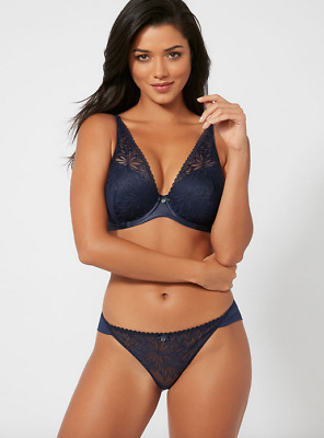 f84ee86190 Boux Avenue Carrie Navy Embroidered Brief BNWT Size UK 12