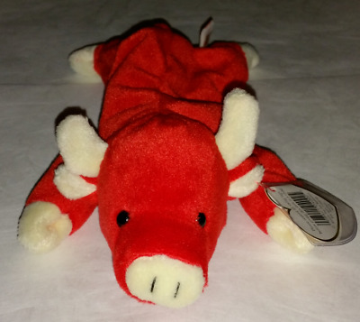 0f744d44c64 Vintage TY Beanie Baby Snort Bull 1995 Extremely Rare 4002 Retired With  Errors