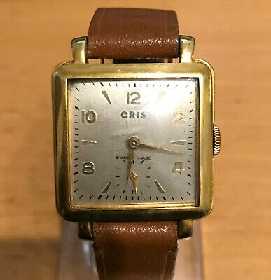 Old vintage Oris square mechanical gold plated watch in good working order