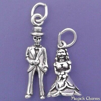 Bride and Groom sterling silver charm .925 x 1 wedding couple charms CF2401
