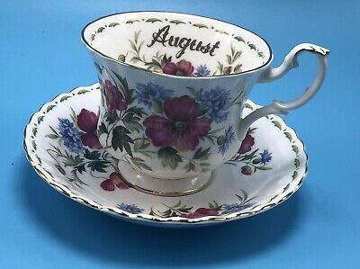 Royal Albert Flower of the Month August Poppy Footed Cup and Saucer Set
