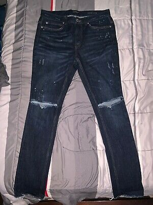 NWT PACSUN Men s Stacked Skinny Ripped Dark Wash Raw Hem Distressed Jeans  32x32 243c396ee387