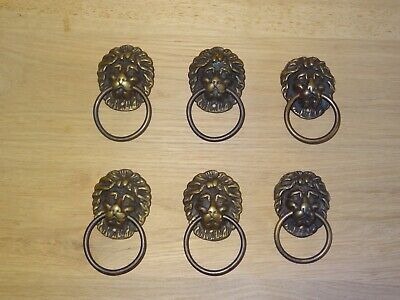 Set of 6 Antique Style Brass Lion Head Cabinet Drawer Handles (lot 2)