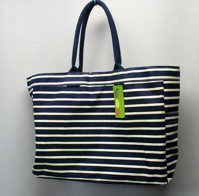 New Ladies rock flower paper bateau striped carry all bag
