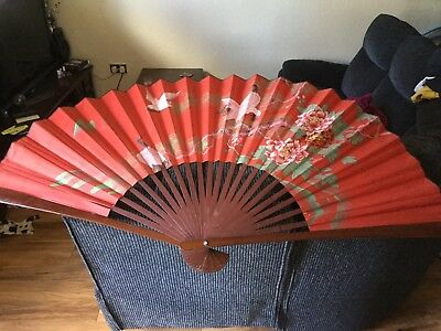 Large Vintage Decorative Fan & 12 Other Assorted Hand Fans