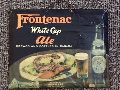 "Vintage ""Frontenac White Cap Ale"" Tin Over Cardboard TOC Sign - Canada"