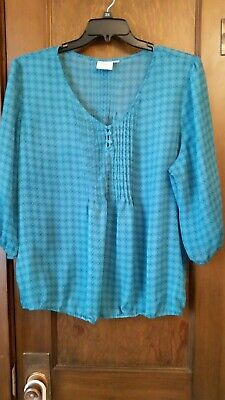 2228f29d8d5 Women s St. John s Bay Blue Green Pleated Front Sheer Layering Top Plus  Size 3X