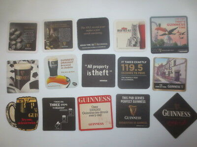 15 different  GUINNESS world wide ,collectable BEER COASTERS