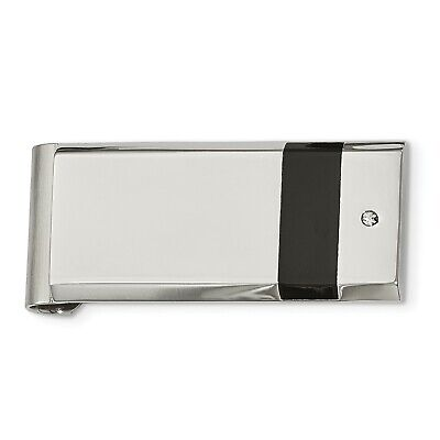 4f499cee3bab Stainless Steel Black Rubber and Synthetic CZ Engravable Money Clip