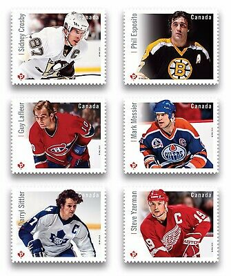 HOCKEY = GREAT Canadian FORWARDS = QP Die Cut = set of 6 BK sts MNH Canada 2016