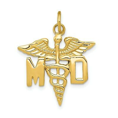 14k Yellow Gold Large M.D. Caduceus Charm Pendant. (1.1INx0.8IN)