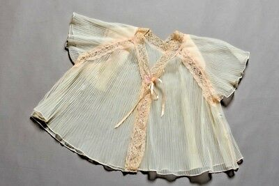 Vintage bed jacket, pink, nylon sheer electric pleated, lace edged, size W