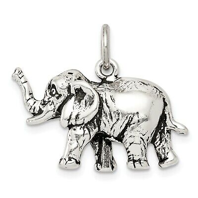 0.4IN long x 0.6IN wide Sterling Silver Antiqued Elephant Charm