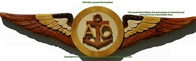 U.S. NAVY AIRCREWMAN WINGS BADGE  AC WINGS Handcrafted Wood Art Military Plaque