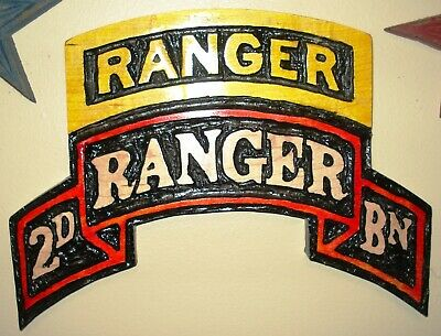 2nd RANGER Batt Scroll,  wood carving, plaque, airborne, tab, Battalion