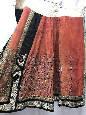 Antique Chinese Embroidered Silk Skirt Qing Dynasty
