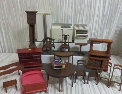 Vintage Old Wooden Dollhouse Furniture Lot - Some Crude ~ For Parts or Restore