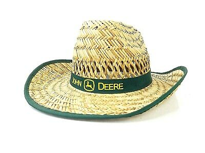 af798d8a081796 John Deere Woven Straw Hat Yellow Printed Green Band Tractor Farm Equipment