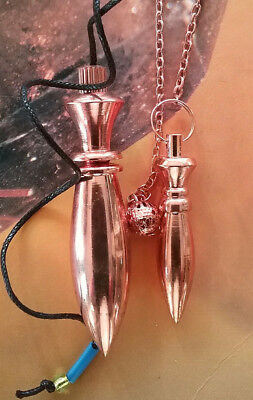 2 Different Copper Karnak Oblong Solid Dowsing Pendulum  With 2 Pouches