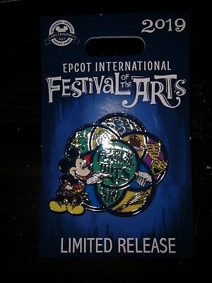 Disney World EPCOT 2019 Festival Of The Arts Mickey Mouse Logo Pin Limited Ed.
