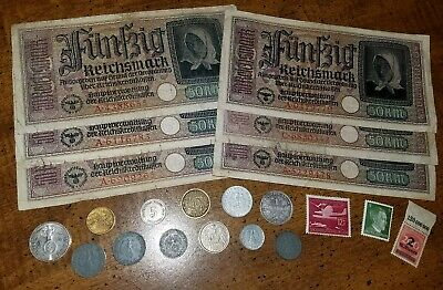 WW2 GERMAN RARE BANKNOTES/COINS w/ SILVER  - 21pc LOT - Vintage WWII Collection!