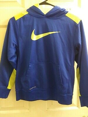 ba1b60ad66cd Boys Nike Therma-Fit Hoodie Sweatshirt Size Youth Large Kids yellow Blue  Elite L