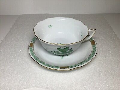 Herend Green Chinese Bouquet Pattern Teacup and Saucer 734 AV #2