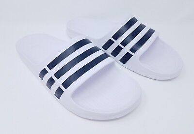 8db780414 ADIDAS ORIGINALS MEN S Duramo Slide Sandals Size 11 White   Navy ...