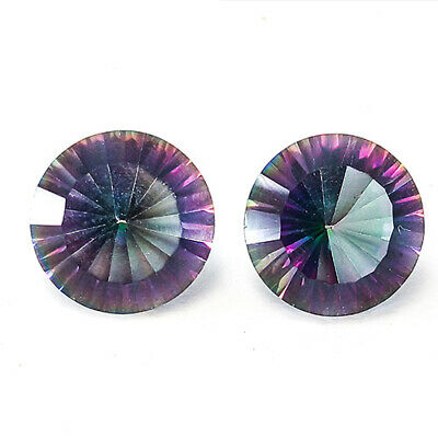 6.55 Cts Special Eye Clean Round Matching Pair Rainbow Color Natural Topaz