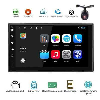 Backup Camera+GPS Double 2 Din Car Stereo Radio MP5 Player Bluetooth Android OS
