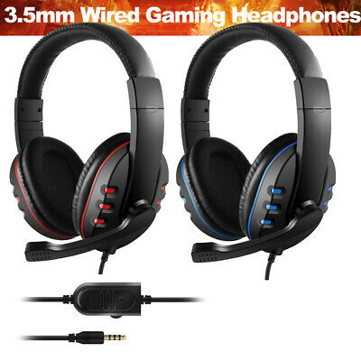 3.5mm Wired Gaming Headphone Over Ear Game Headset Noise Canceling w/Mic for PS4