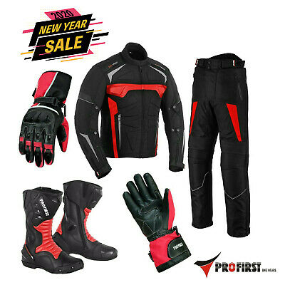 Motorcycle Riding Suits Mens Leather Jacket bike boots Motorbike Gloves Red