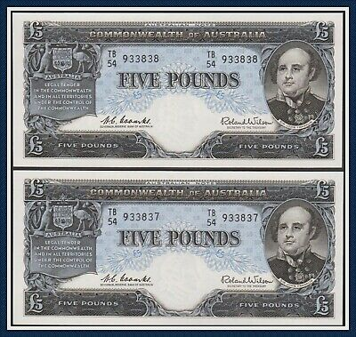 Unc Consecutive DUO 5 Pound Banknote Coombs/Wilson TB/54-933837/38 R-50 Reserve
