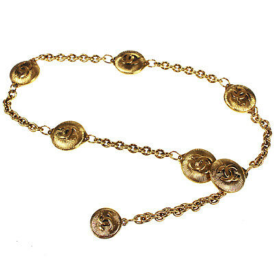 d33a6f471c69 Chanel cc Logos Chaîne or Ceinture Collier France Vintage Authentique  O889  M