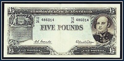 gVF 1960 5 Pound Banknote Coombs/Wilson TC/26-486014 R-50 Reserve Bank