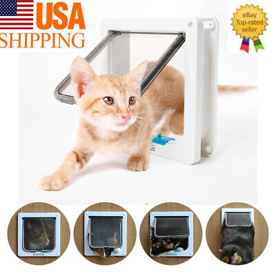 White 4 Way Locking Lockable Pet Cat Dog Magnetic Lock Flap Door Gate S L SIZE