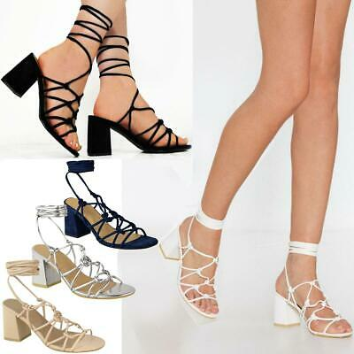 Womens Ladies Mid Low Block Heel Summer Strappy Sandals Ankle Lace Tie Up Shoes