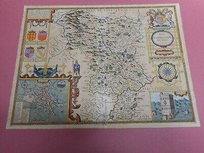 100% Original Large Derbyshire Map By John Speed C1616 Latin Scarce Hand Colour